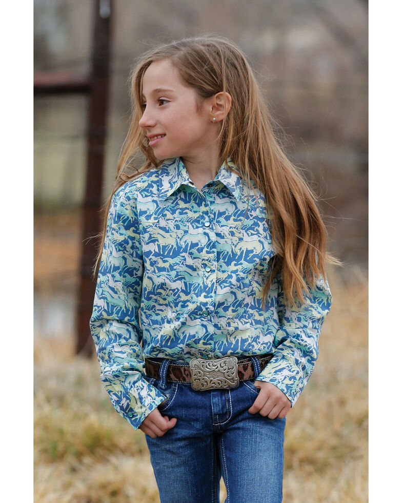 Cruel Girl Girls' Blue Horse Print Long Sleeve Western Shirt, Multi, hi-res