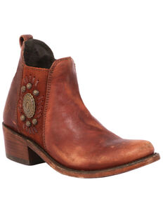 Liberty Black Women's Brown Fashion Booties - Round Toe, Brown, hi-res