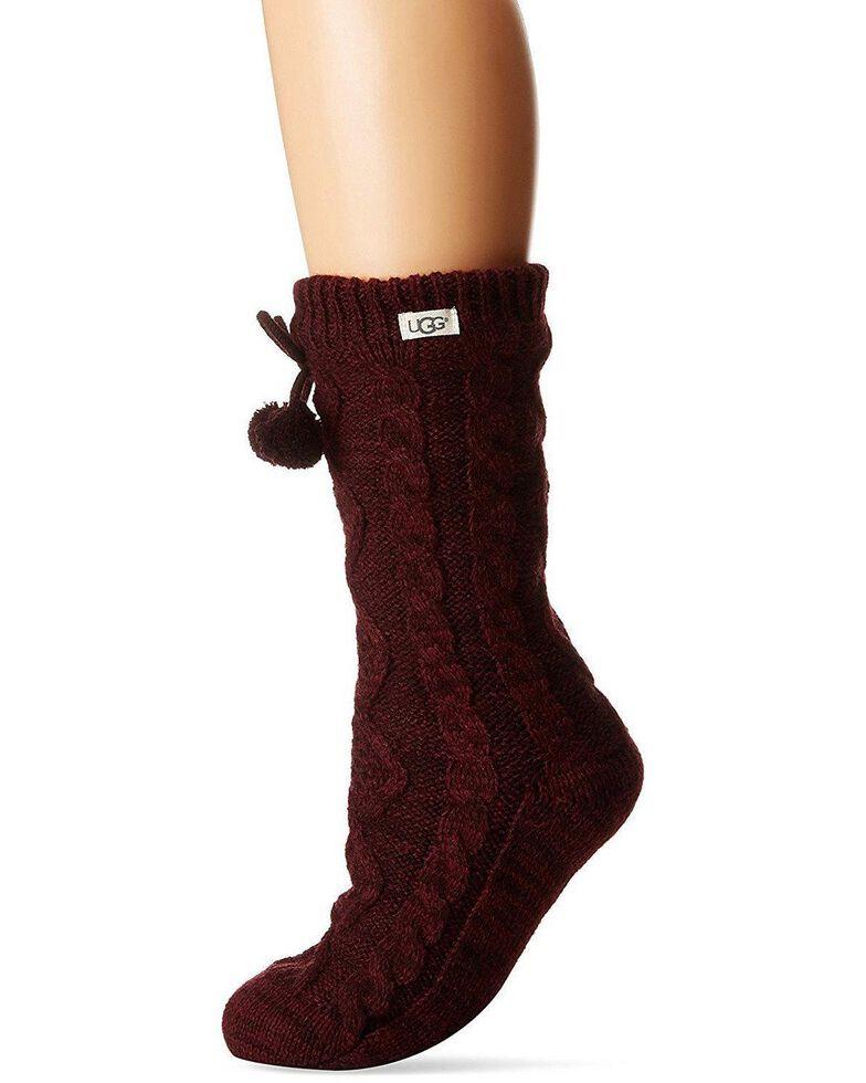 UGG Women's Pom Pom Crew Socks, Burgundy, hi-res