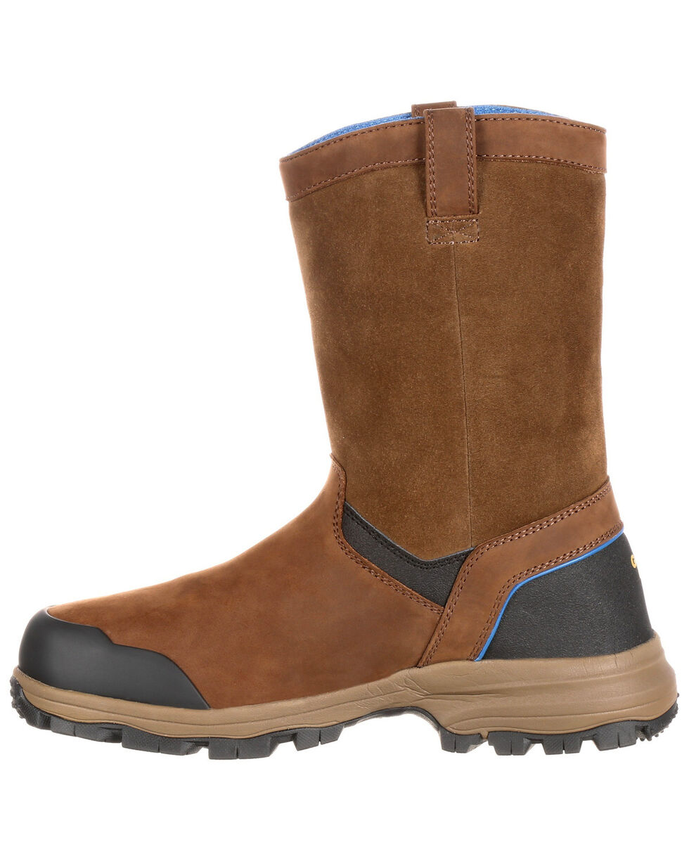 Georgia Boot Men's Wellington Waterproof Work Boots - Round Toe, Brown, hi-res