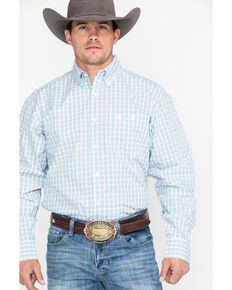 George Strait by Wrangler Men's Small Plaid Long Sleeve Western Shirt , Purple, hi-res