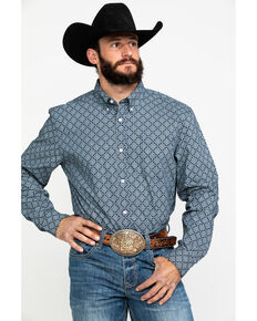 Cody James Core Men's Llano Geo Print Long Sleeve Western Shirt , Navy, hi-res
