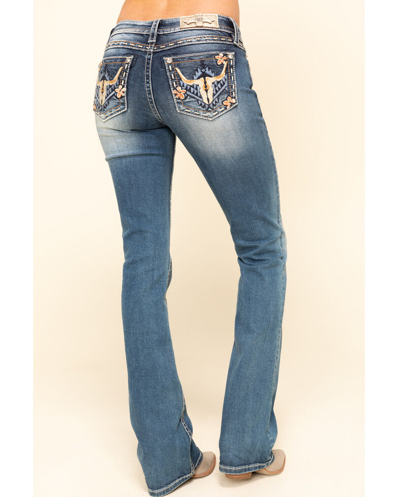 "Miss Me Women's Medium Boho Long Horn 32"" Bootcut Jeans , Blue, hi-res"