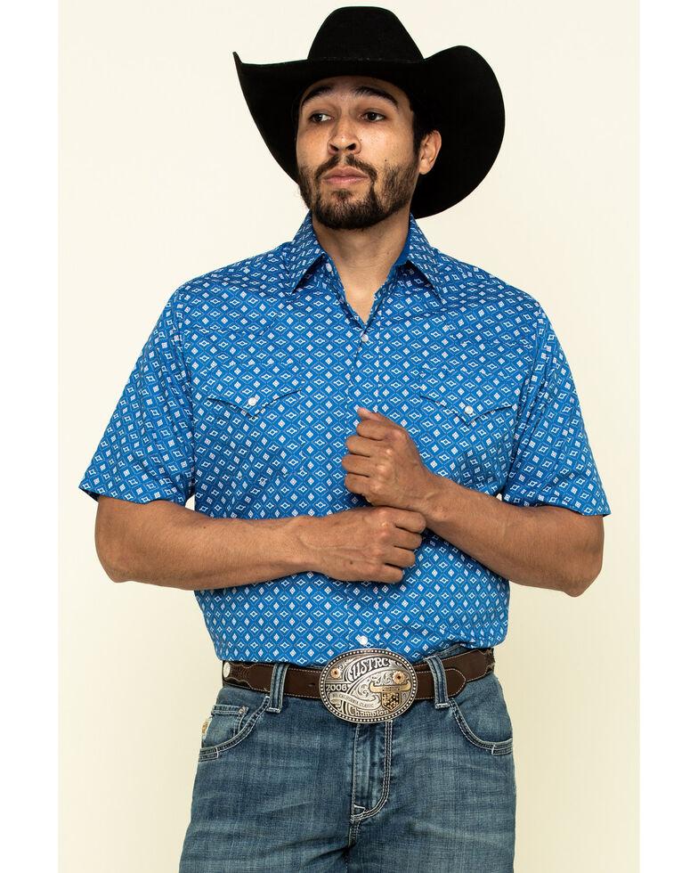 Ely Walker Men's Multi Aztec Geo Print Snap Short Sleeve Western Shirt , Blue, hi-res