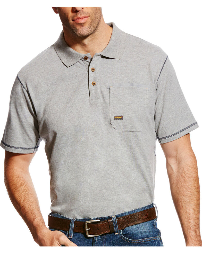 Ariat Men's Rebar Polo - Big & Tall, Grey, hi-res