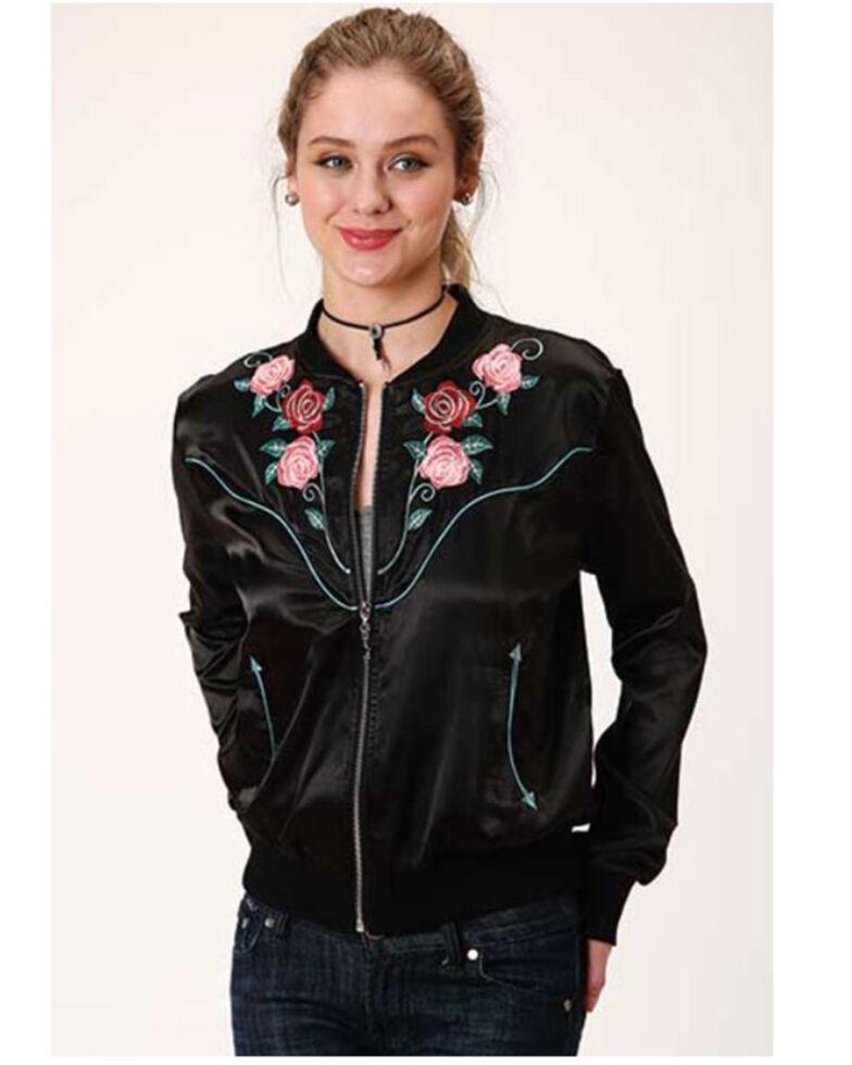 Roper Women's Black Satin Floral Embroidered Bomber Jacket, Black, hi-res