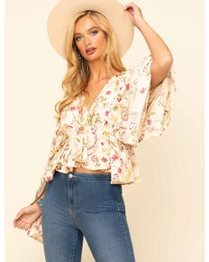 Band of Gypsies Women's Ivory Print Bell Sleeve Top, Ivory, hi-res