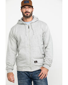 Berne Men's Original Fleece Hooded Zip Front Work Sweatshirt - Tall , Grey, hi-res