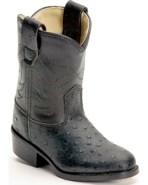 Old West Children's Ostrich Print Cowboy Boots, Black, hi-res