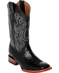 Ferrini Men's Python Cowboy Boots - Square Toe, Black, hi-res