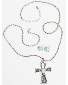 Shyanne Women's Bella Cross Turquoise Necklace Set, Silver, hi-res