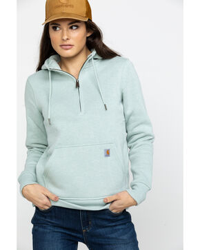 Carhartt Women's Heather Grey Clarksburg Half-Zip Hooded Zipper Sweatshirt, Heather Grey, hi-res