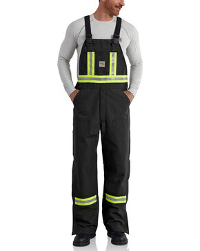 Carhartt Men's Flame Resistant High-Visibility Overalls, Black, hi-res