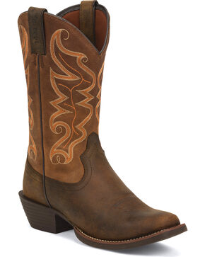 "Justin Men's 12"" Pull-On Western Boots, Brown, hi-res"
