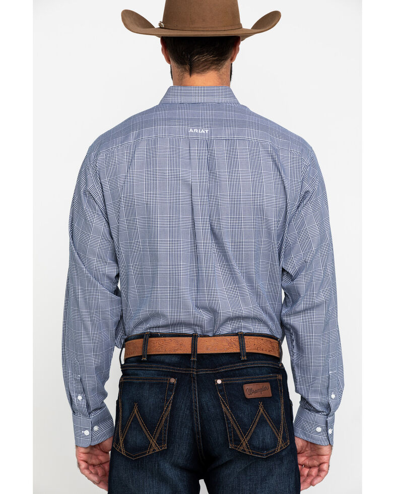 Ariat Men's Wrinkle Free Indie Gingham Check Long Sleeve Western Shirt - Big , Blue, hi-res