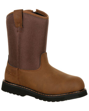 Rocky Youth Boys' Lil Ropers Outdoor Boots - Round Toe, Dark Brown, hi-res