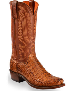Lucchese Men's Handmade Walter Hornback Caiman Belly Boots - Snip Toe , Tan, hi-res