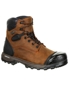 Rocky Men's XO-Toe Waterproof Work Boots - Round Toe, Brown, hi-res