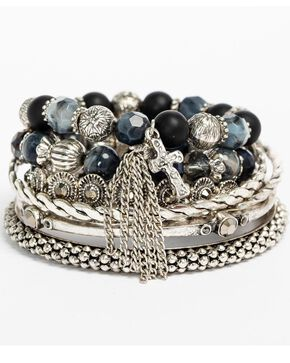 Shyanne Women's Grey Multi Bangle Set, Grey, hi-res