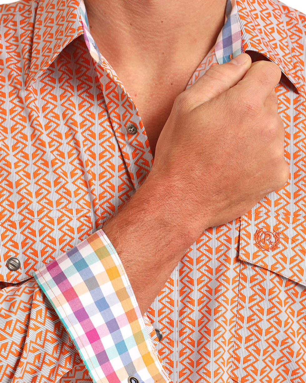 Panhandle Men's Peached Poplin Print Long Sleeve Shirt, Orange, hi-res