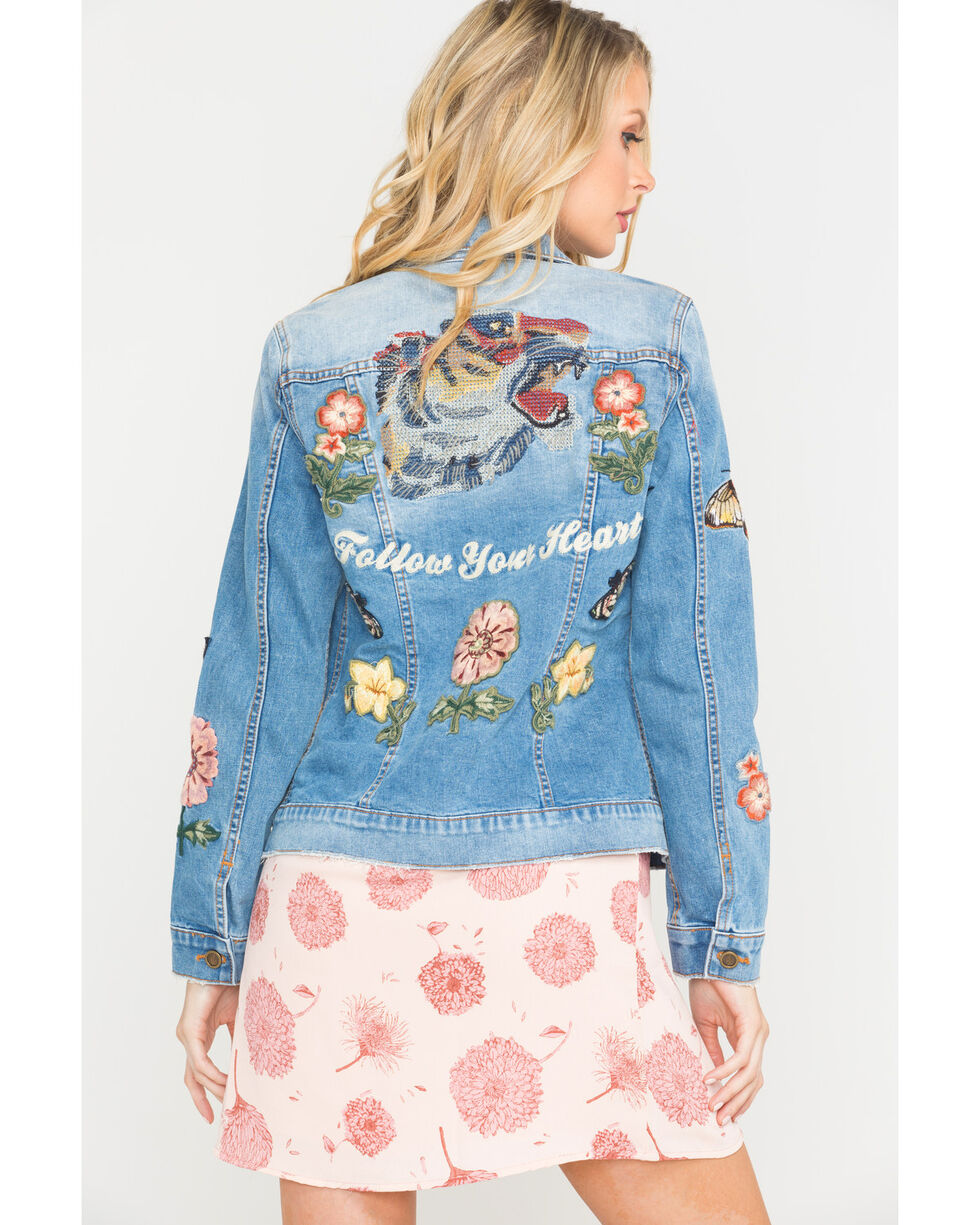 Driftwood Women's Blue Embroidered Denim Jacket , Blue, hi-res