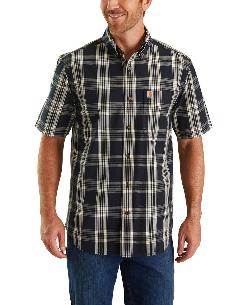 Carhartt Men's Black Essential Plaid Short Sleeve Work Shirt - Big , Black, hi-res