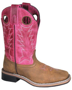 Smoky Mountain Youth Girls' Tracie Western Boots - Square Toe, Brown/pink, hi-res