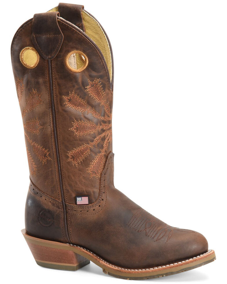 Double H Women's Arvada Western Work Boots - Soft Toe, Distressed Brown, hi-res