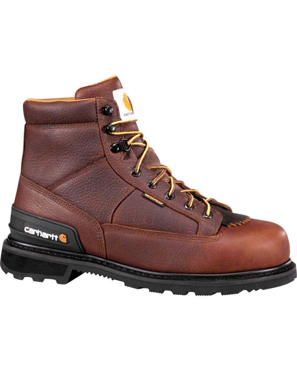 "Carhartt Men's 6"" Waterproof Kiltie Work Boots - Round Toe, Camel, hi-res"