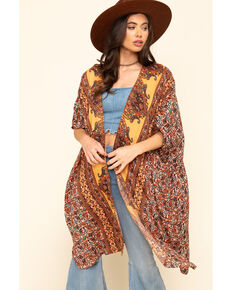 Angie Women's Gold Floral Border Print Challis Kimono , Dark Yellow, hi-res