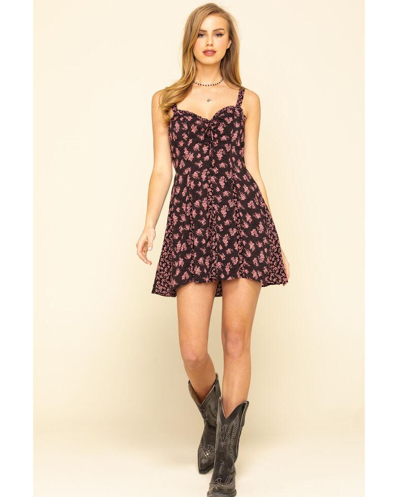 Free People Women's Don't Dare Mixed Print Mini Dress, Black, hi-res