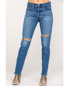 Levi's Women's 501 High Rise Jive Step Skinny Jeans, Blue, hi-res