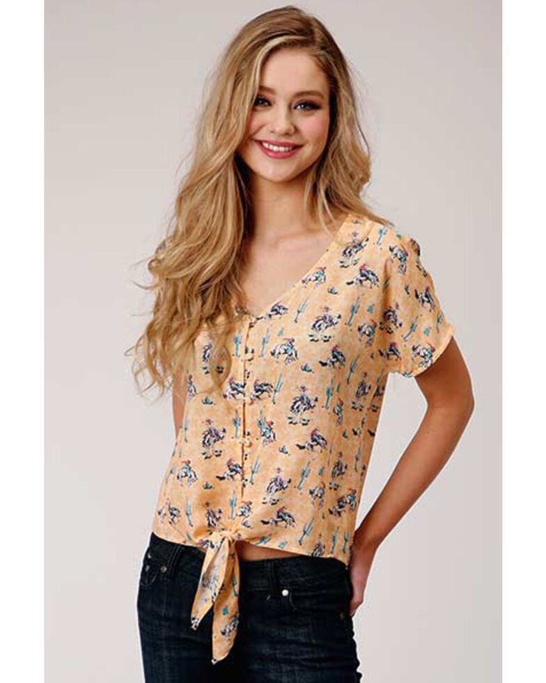Five Star Women's Wild West Print Tie Top, , hi-res