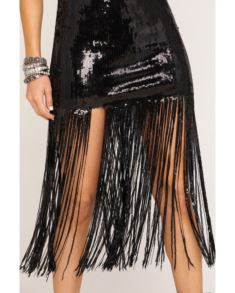 Chrysanthemum Women's Black Fringe Sequin Dress, Black, hi-res