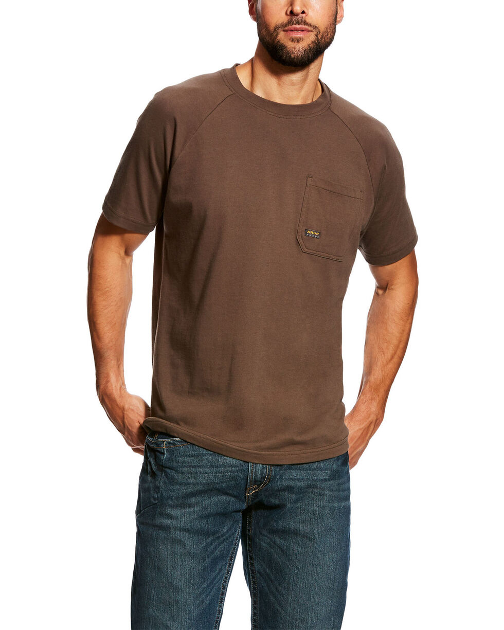 Ariat Men's Brown Rebar Cotton Strong Short Sleeve Logo Crew T-Shirt - Tall , Brown, hi-res