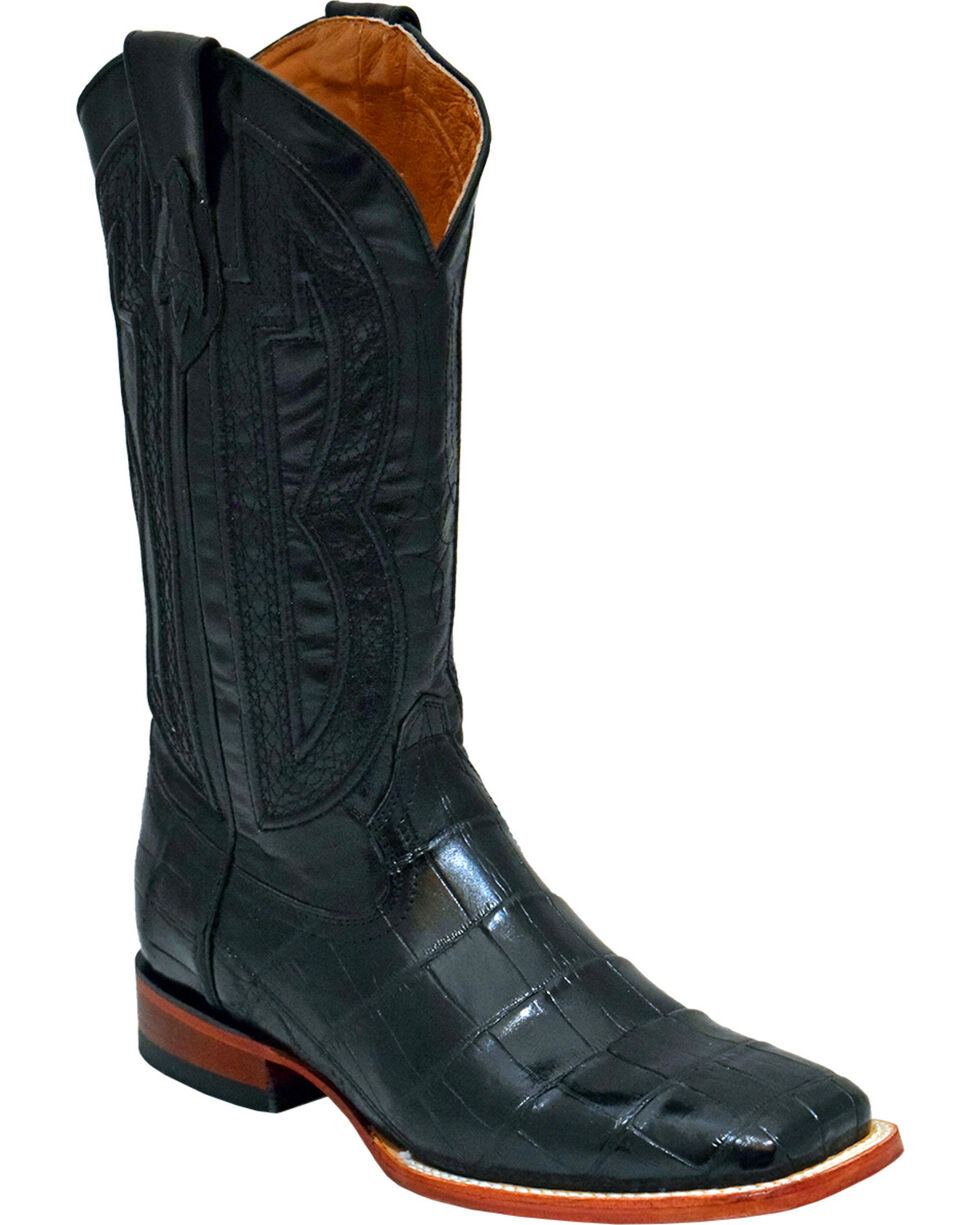 Ferrini Men's Genuine Alligator Belly Western Boots - Wide Square Toe , Black, hi-res