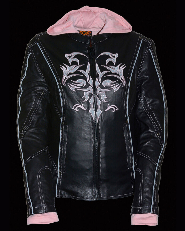 Milwaukee Leather Women's 3/4  Leather Jacket With Reflective Tribal Detail , Pink/black, hi-res