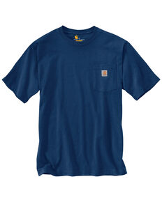 Carhartt Men's Workwear Pocket Short Sleeve Work T-Shirt - Big & Tall, Dark Blue, hi-res