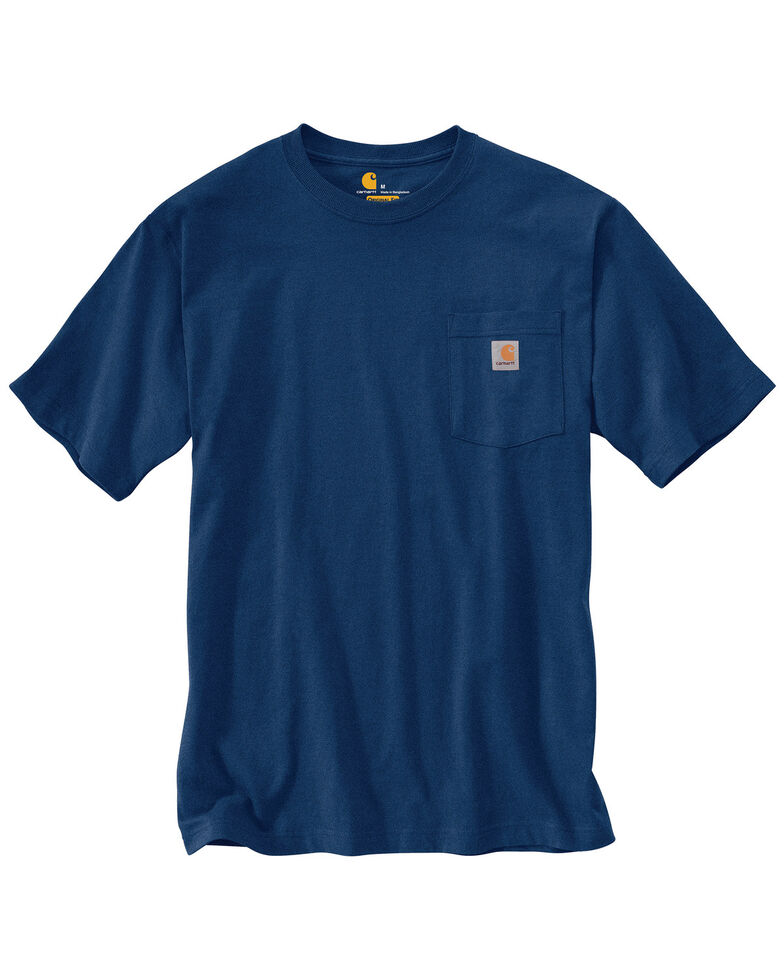 Carhartt Men's Workwear Pocket Short Sleeve Work T-Shirt - Big & Tall, Dark Blue, hi-res