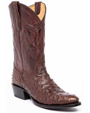 Cody James Men's Sienna Full-Quill Ostrich Western Boots - Round Toe, Brown, hi-res