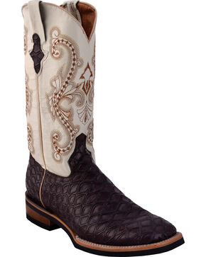 Ferrini Men's Chocolate Anteater Print Cowboy Boots - Square Toe, Chocolate, hi-res