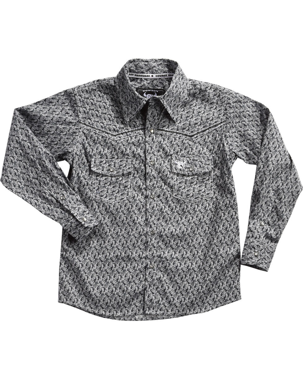 Cowboy Hardware Boys' Scroll Skull Long Sleeve Shirt , Grey, hi-res