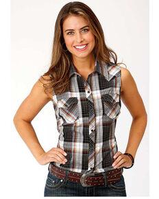 Karman Women's Black Plaid Sleeveless Western Shirt, Black, hi-res