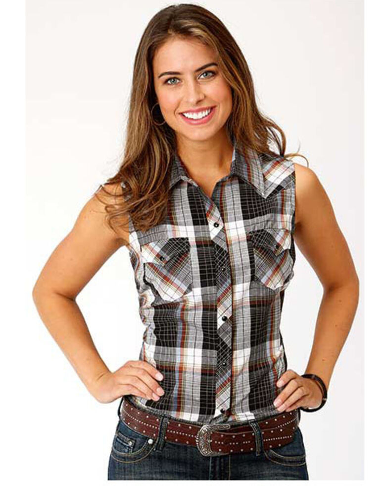 Karman Women's Black Plaid Sleeveless Western Shirt, Black, hi-res