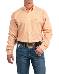 Cinch Men's Orange Striped Tencel Print Long Sleeve Western Shirt , Orange, hi-res