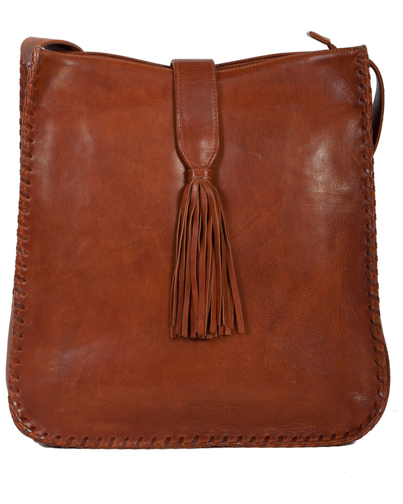 Scully Women's Leather Bag With Whipstitching, Tan, hi-res