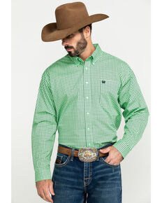Cinch Men's Green Small Square Geo Print Button Long Sleeve Western Shirt , Green, hi-res