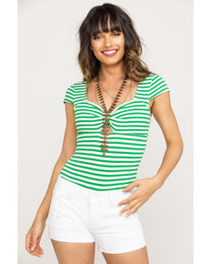 Coco + Jaimeson Women's Green Stripe Bodysuit, Green, hi-res