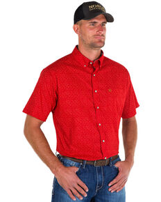 Noble Outfitters Men's Red Generation Star Print Short Sleeve Western Shirt , Red, hi-res