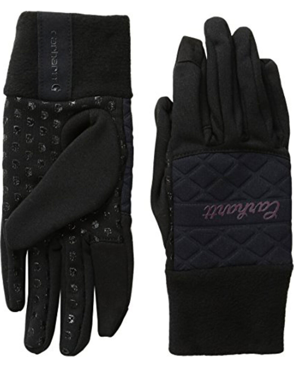 Carhartt Women's Fleece & Knit Touch Screen Gloves, Black, hi-res